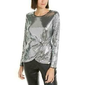 INC Long Sleeve Blouse Twisted Sequin Top Silver L